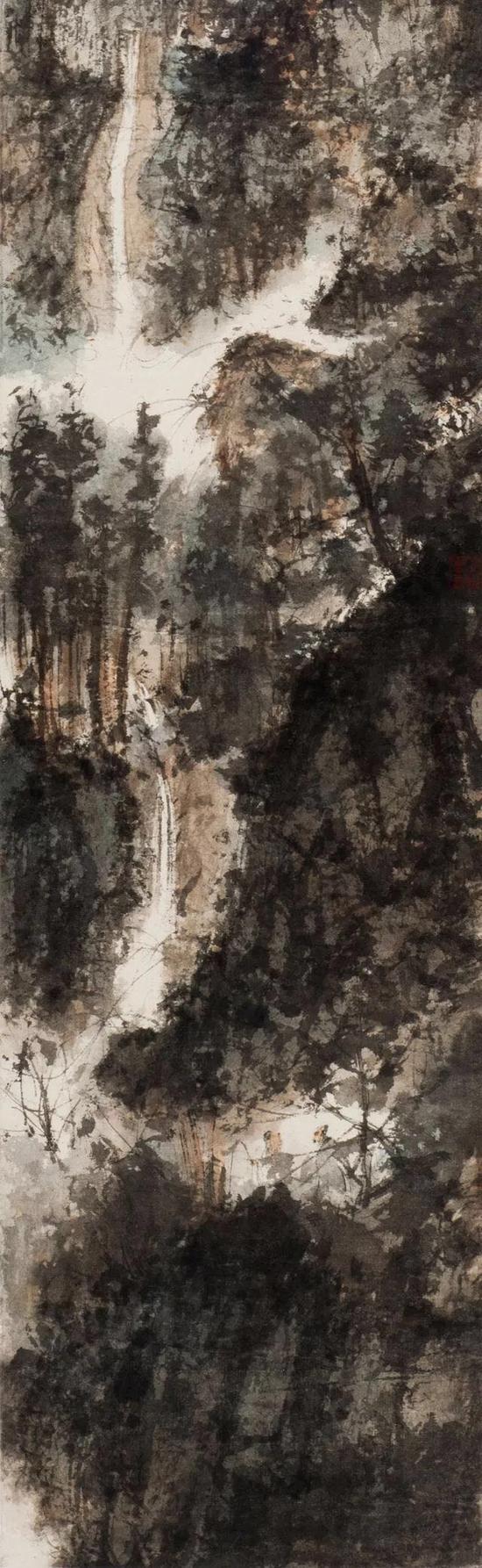 傅抱石 石涛诗意  设色纸本 立轴  1945年作  200.5×30.5cm