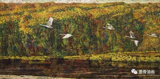 黑龙江金秋  82cm×165cm  油彩·麻布  1978年  四人作品联展 (1981)