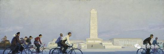 晨  101cm×301cm  油彩·麻布  1961年  第三届全国美术作品展览(1962)  中央美术学院美术馆藏