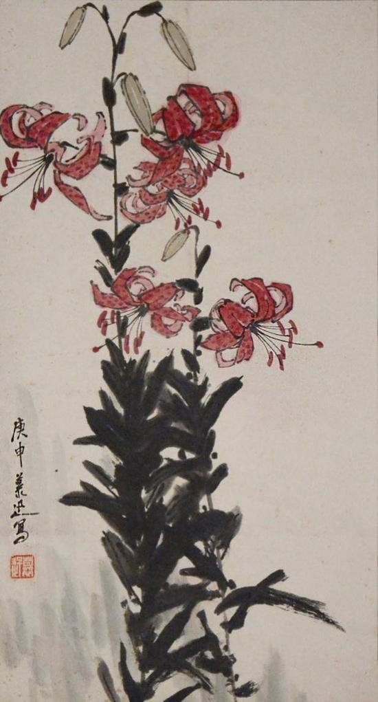 鲁慕迅 花卉    尺寸:88×48cm 约3.80平尺立轴    估价:3500-3800