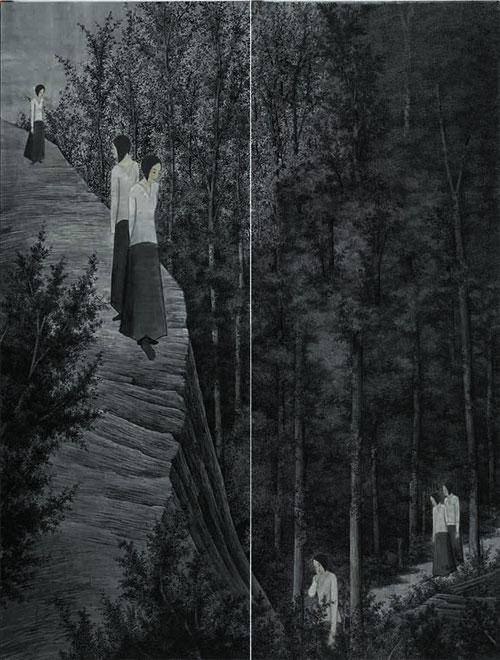 何玮明:《林中路NO2》-340x130x2cm-纸本水墨-2013年
