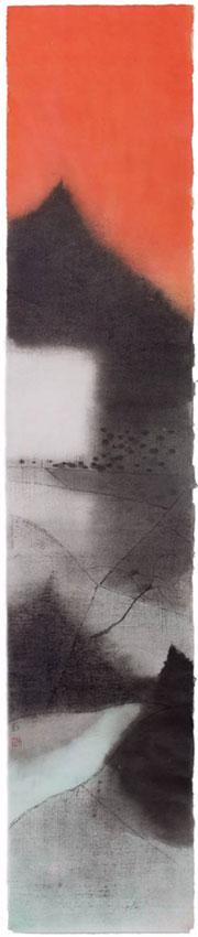沈勤《村004》,纸本水墨,138×27cm,2015年