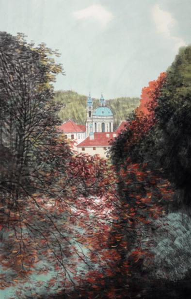 2014年 欧洲写生系列—布拉格 68cm×45cm