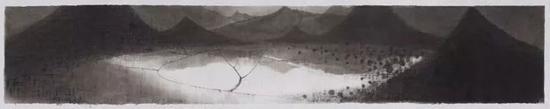 沈勤《田》,纸本水墨,33×178cm,2017年