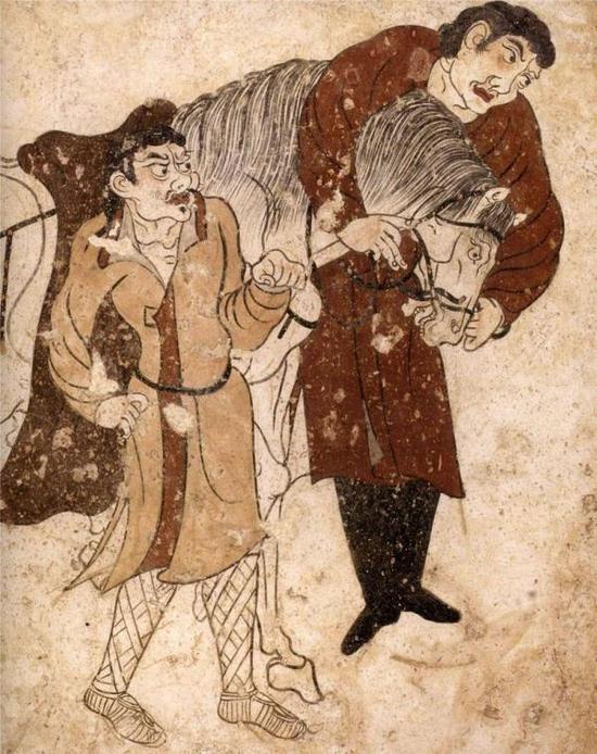 胡人牵马图壁画,唐麟德三年(666年),陕西省礼泉县烟霞镇陵光村出土,昭陵博物馆藏。
