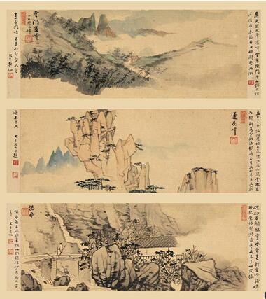 张大千,《大千黄山游》(册页 十二开选三) 水墨设色纸本,1933年,14.5 x 37厘米