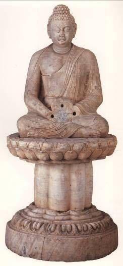 (药师)如来坐像,初唐(推测为七世纪),汉白玉圆雕。陕西省麟游县九成宫太平寺遗址出土,陕西省麟游县博物馆藏。