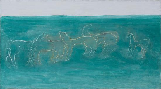 常玉《草原上的马群》