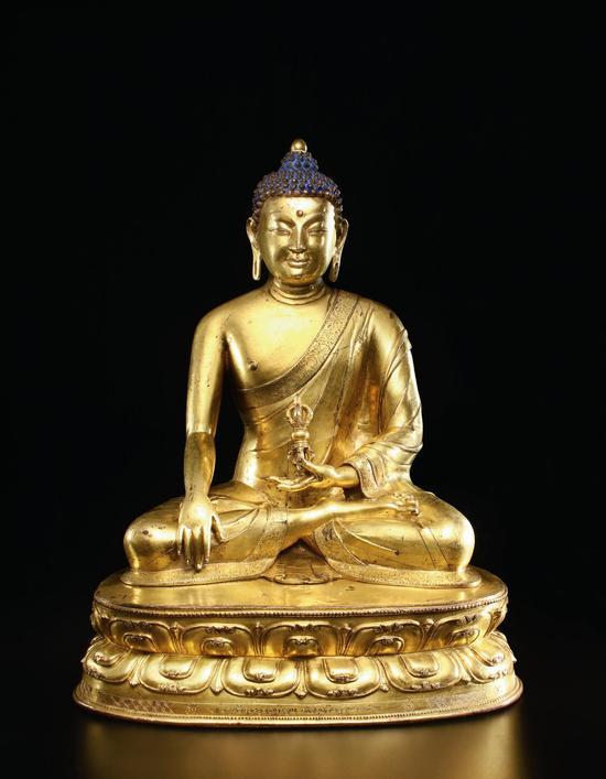 14世纪西藏风格 铜鎏金阿閦佛