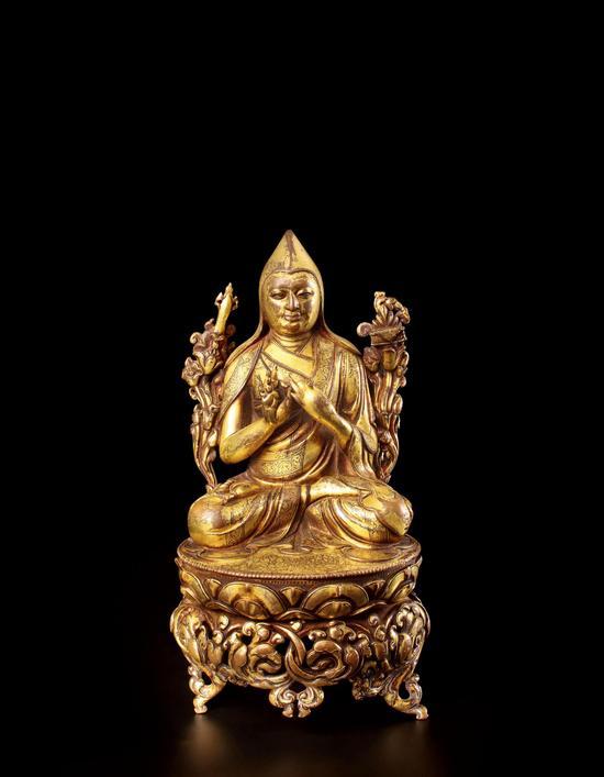 15世纪西藏风格 铜鎏金宗喀巴大师坐像