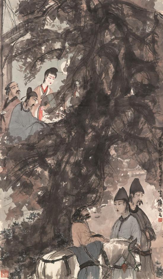 傅抱石《琵琶行》,立轴镜框 ,设色纸本,113 x 66 公分,估价待询