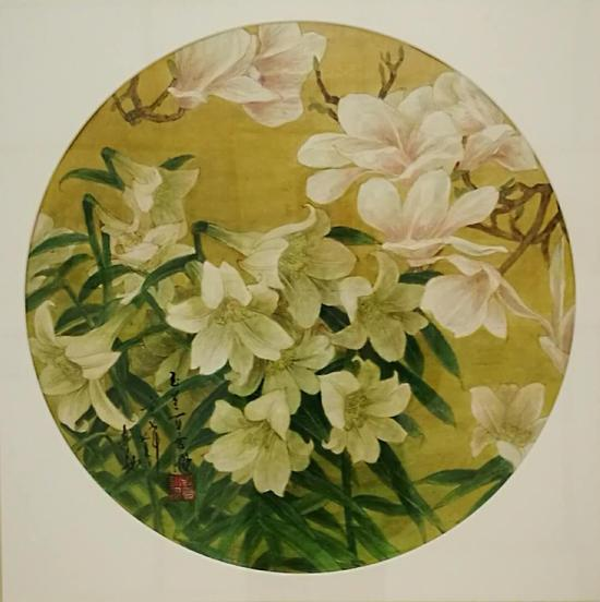布面油画:玉兰百合图(75×75)cm创作2013年10月
