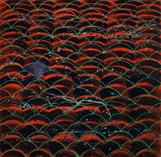 杨陆峰《波·浪I》150×150cm 布上油画综合材料 2017