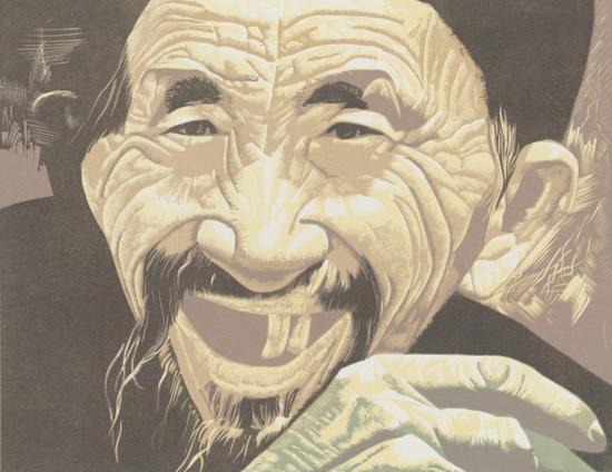 贵州人之四 彩色木刻 36.8×27.7cm 1988年