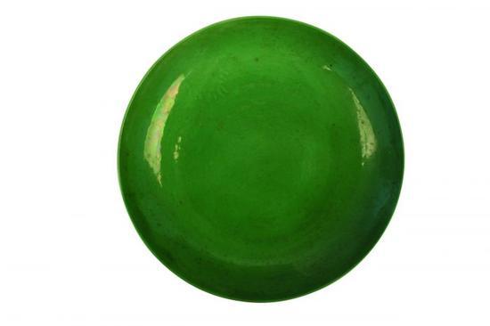 图4 清雍正款瓜皮绿釉八宝缠枝纹盘