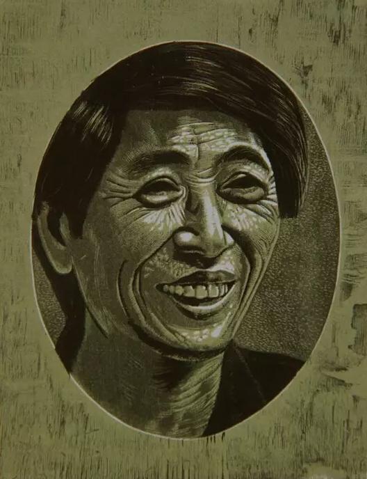 近距离之谭权书先生 木刻版画 31.8x24.7cm 1991年