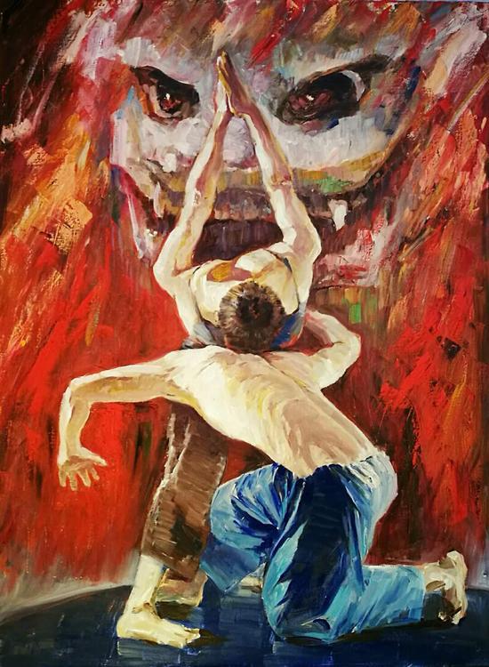 布面油画:现代舞---雄狮(120×90)cm创作2017年10月