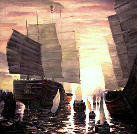 布面油画:中国商船来了(150X150)cm创作2014年7月