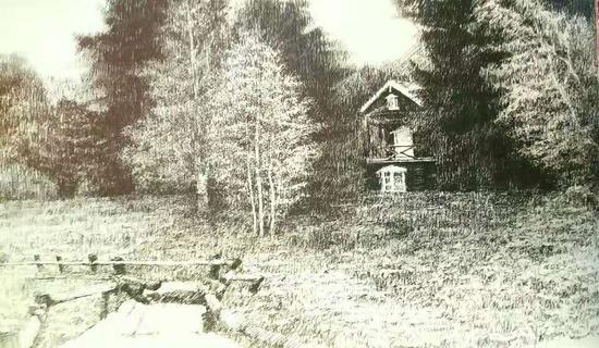 纸上钢笔:草原走马-春(25×35)cm创作2013年10月