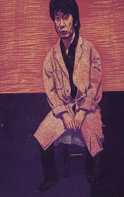 无花的房间 彩色木刻 39.4x61.1cm 1991年