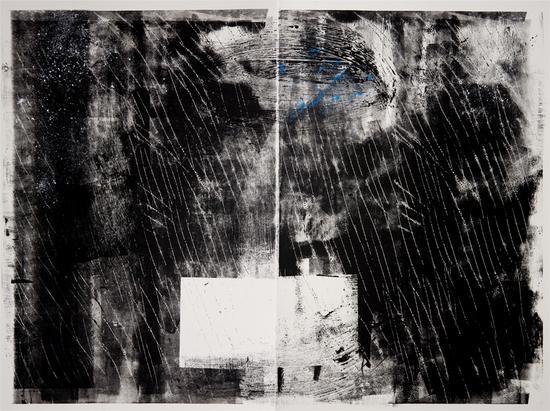 (纽约的雨, 是流亡者的雨)之二 纸上综合材料 132m x102cm 2014