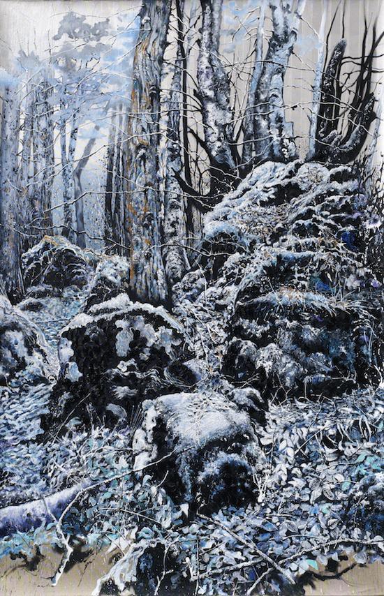 萨宾·巴赫姆,界限,布面油画,150x230cm,2016