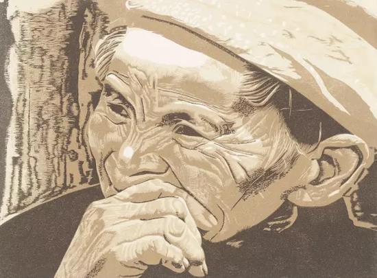 贵州人之三  彩色木刻 36.8×27.7cm 1988年