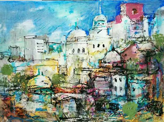 纸上油画棒:灿烂都市(30×40)cm创作2017年8月