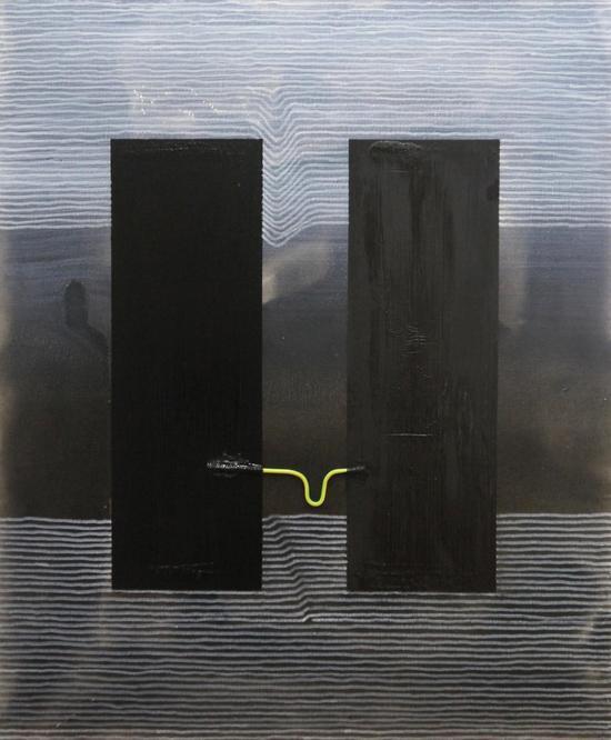 张锜玮,双子塔,布面综合材料,70x50cm,2017