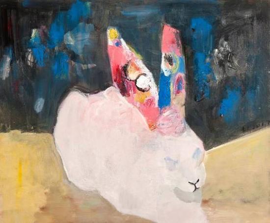 《野兔子》 布面油画  50×60cm  2017
