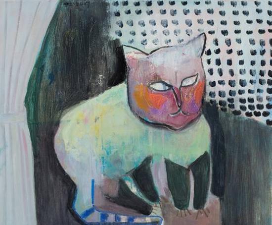 《夜半猫》 布面油画  50×60cm  2017