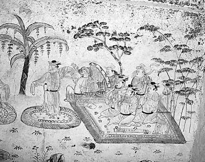 《唐墓壁画演剧图》(局部) 资料图片