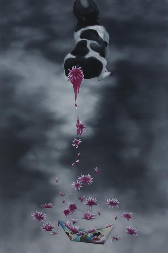 花瓣飘香160x240CM 布面油画 年代2011
