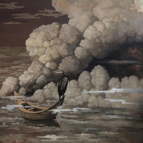 Wu Jian 吴健,渔者的等待,2012,Oil on canvas 布面油画,180cm×180cm