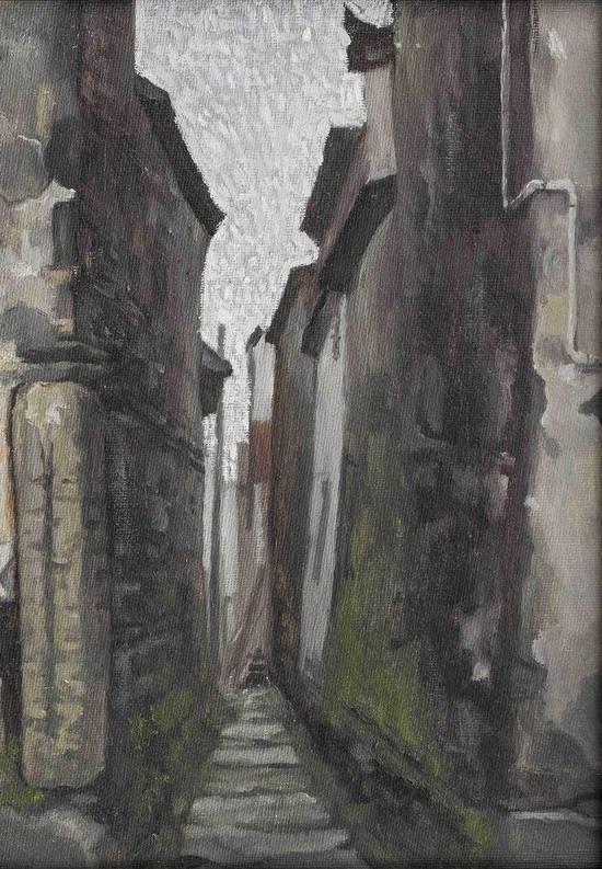 Wu Jian 吴健,满满苔藓,2013,Oil on panel  木板油画,31cm×23cm