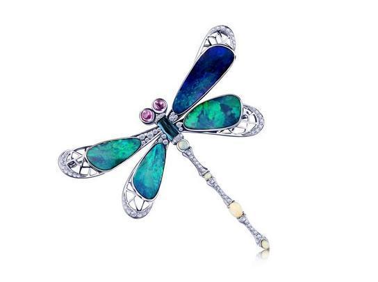 千叶珠宝欧泊石蜻蜓造型胸针