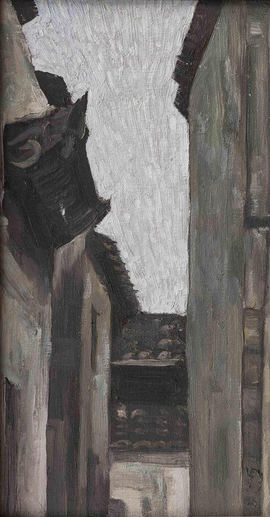Wu Jian 吴健,Gray,灰灰,2013,Oil on panel 木板油画,32cm×18cm
