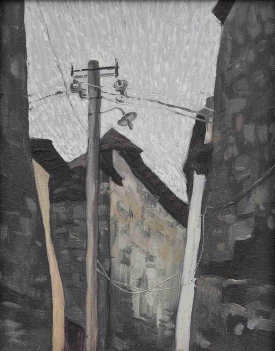 Wu Jian 吴健,左右摇摆的前进,Oil on panel 木板油画,31cm×24cm