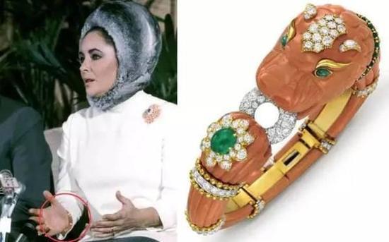 造型奇怪的珊瑚、祖母绿、钻石手镯