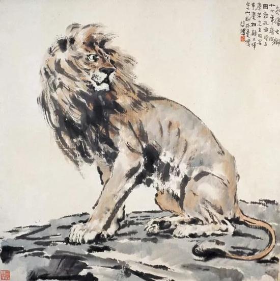 徐悲鸿赠吴蕴瑞之《负伤之狮》 现藏徐悲鸿纪念馆