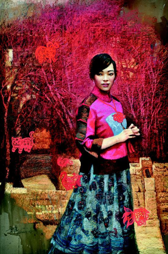 金纬 中国结 粉画