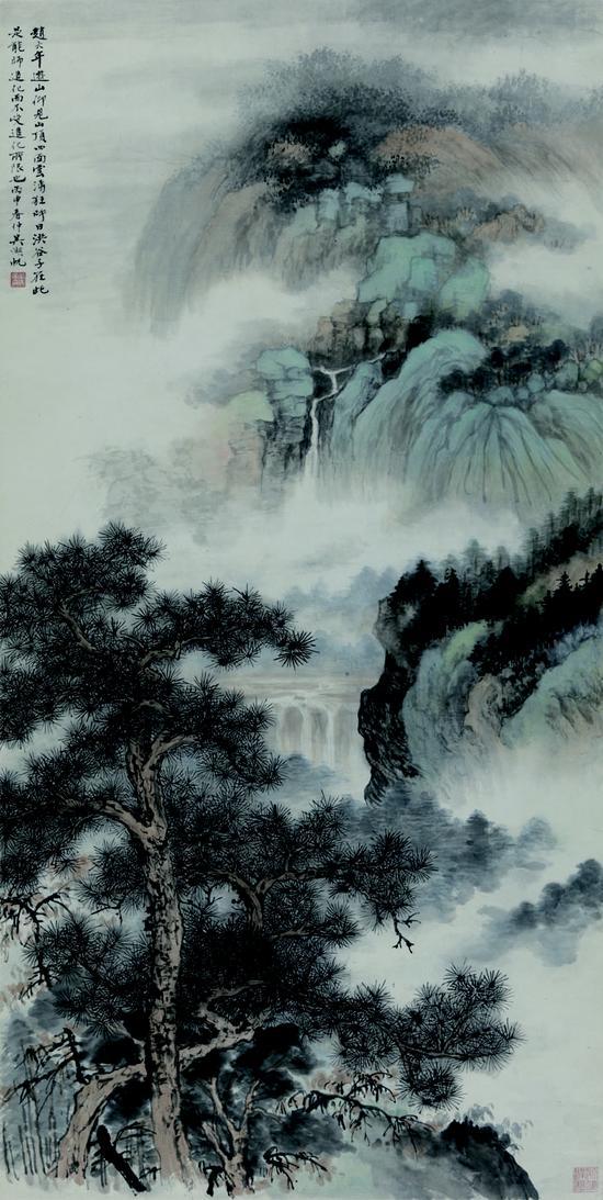 吴湖帆 云中山顶 国画