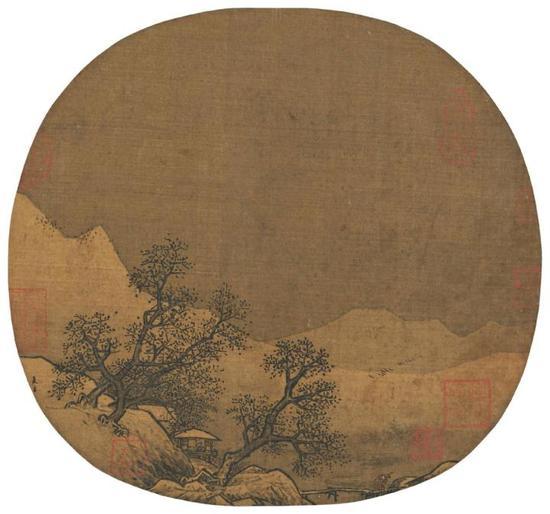 宋代-夏圭-山庄暮雪图