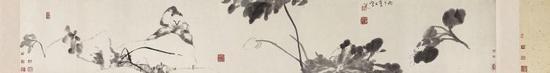 八大山人《猫石花卉图卷》,纸本水墨,34×217.5cm,清,故宫博物院藏
