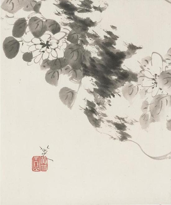 八大山人《花鸟山水图册》,纸本水墨,36.5×30.5cm,清,故宫博物院藏