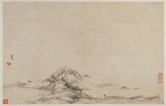 八大山人《山水图册》,纸本水墨,25×41cm,清,故宫博物院藏