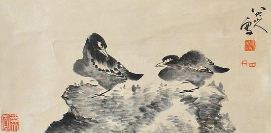 八大山人《鸟石图》,纸本水墨,清