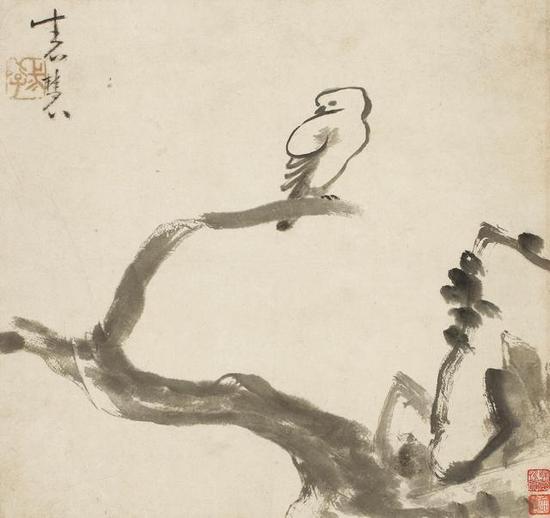 牛石慧《枯梢眠雀》,水墨纸本,清
