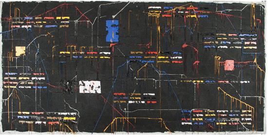 《黑色混乱》105×205cm 油画(钢网)2011年 安立奎·布里克曼