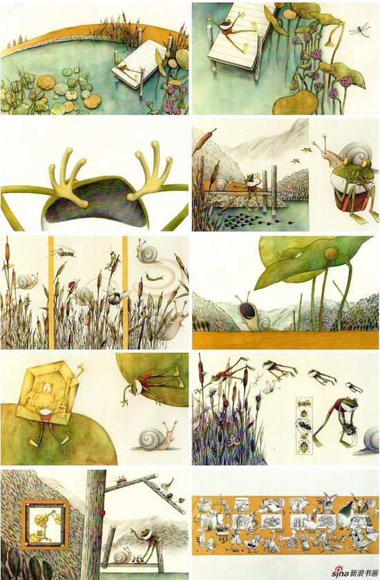 徐开云《青蛙和蜗牛》漫画 57x32cm(10件)